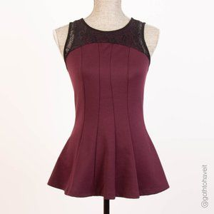 Ricki's Burgundy Peplum Lace Trimmed Top